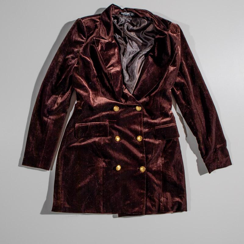 Nasty Gal Maroon Velvet Jacket