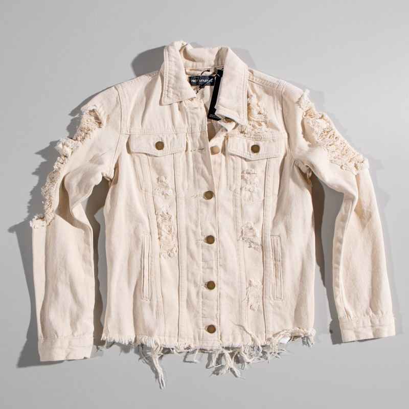 Pretty Little Thing Ecru Distressed Denim Jacket