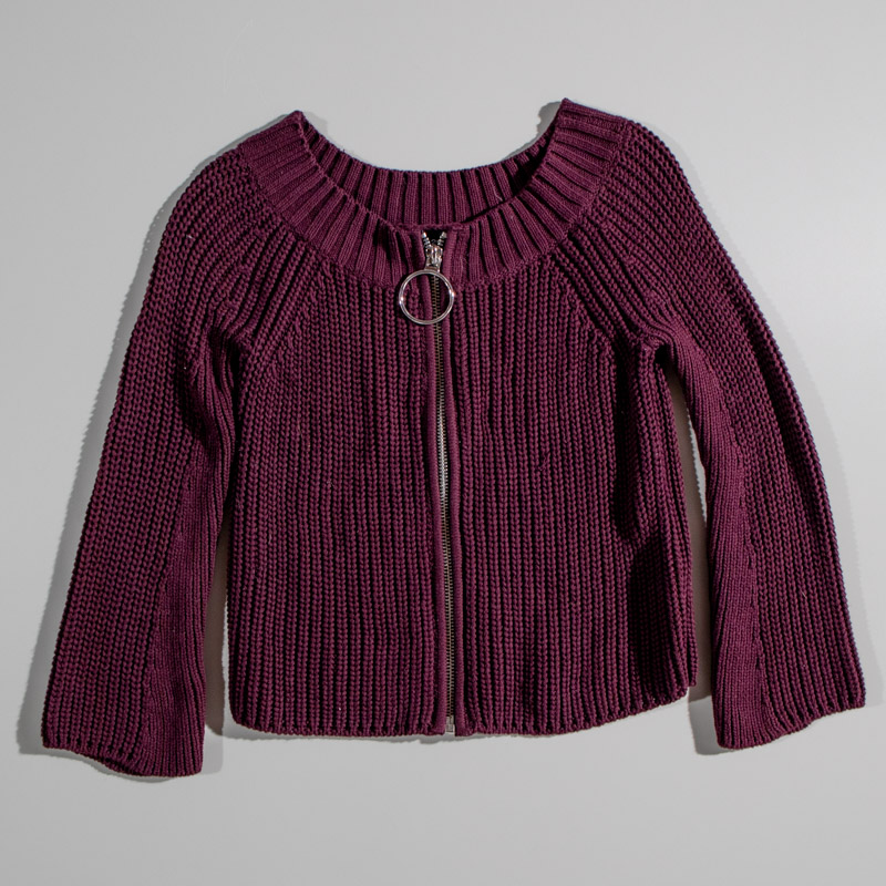 525 America Maroon Knit Zip Up Sweater