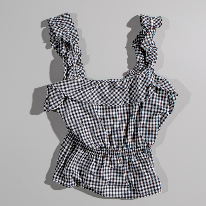 7 for all Mankind Gingham Ruffle Crop Tank