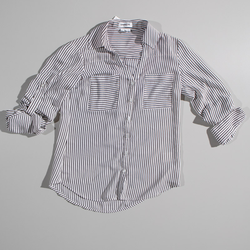 Express Vertical Black And White Button Up