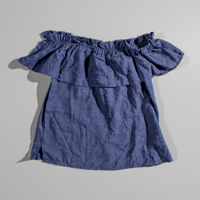 Splendid Chambray Denim Ruffle Top