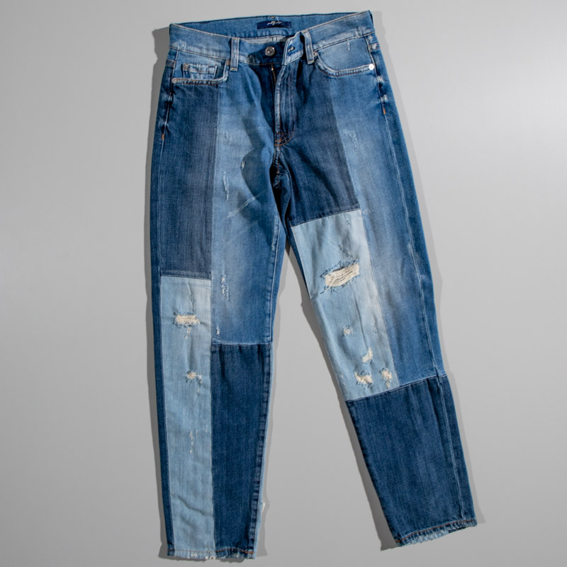 7 For All Mankind High Waisted Slim Indigo patch