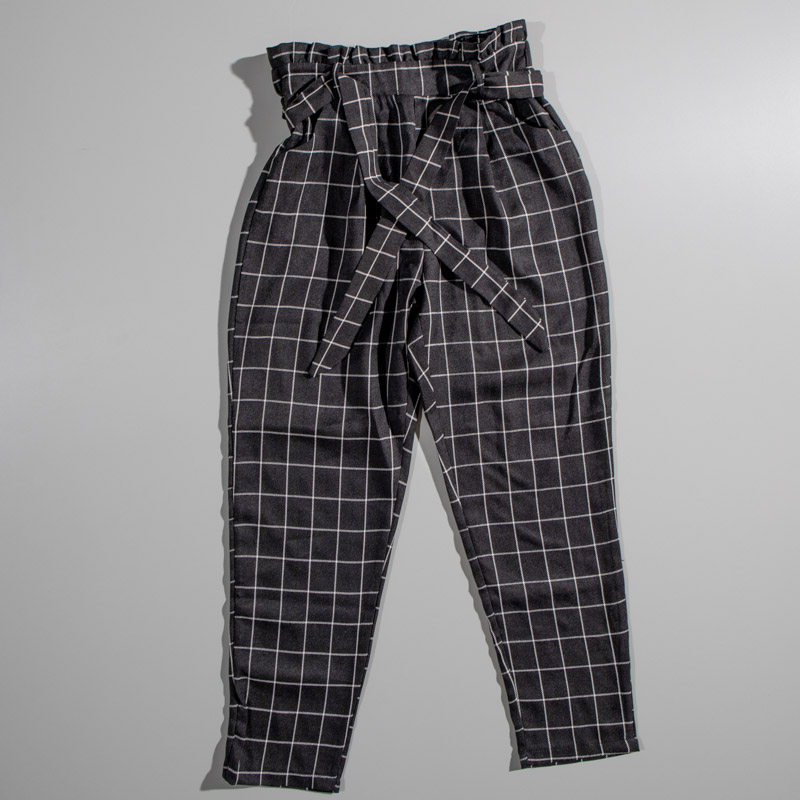 Quiz Black And White Checkered Bag Pants