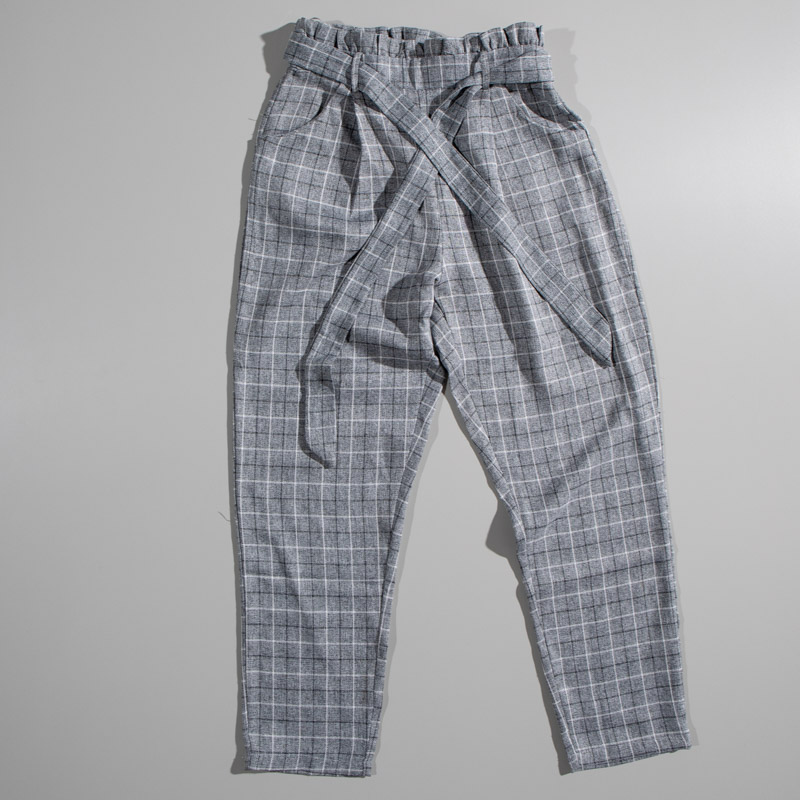 Quiz Grey and White Checkered Bag Pant