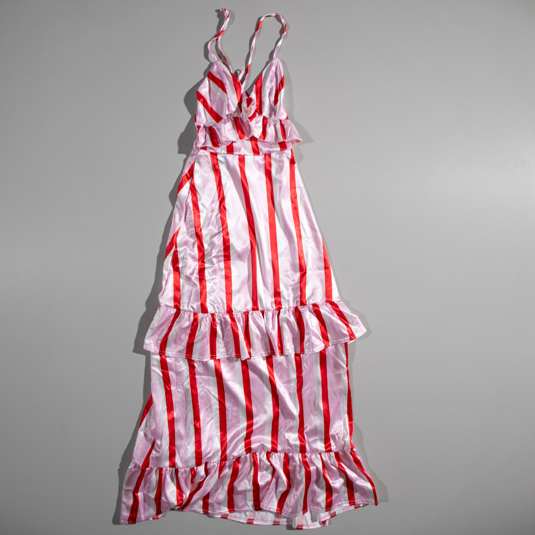 BooHoo Zendaya Stripe Satin Ruffle Maxi Dress