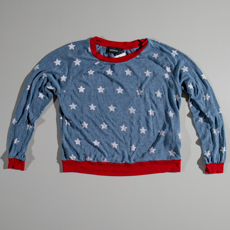 Mink Pink Star Printed Crew Neck Sweater