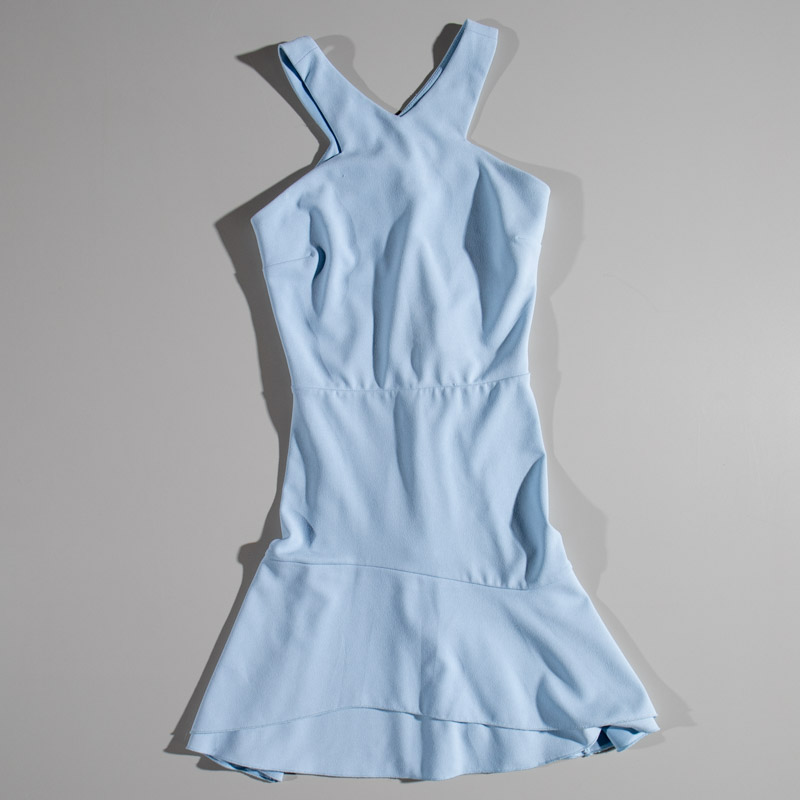 Aqua Blue Halter Dress Zip Up Back