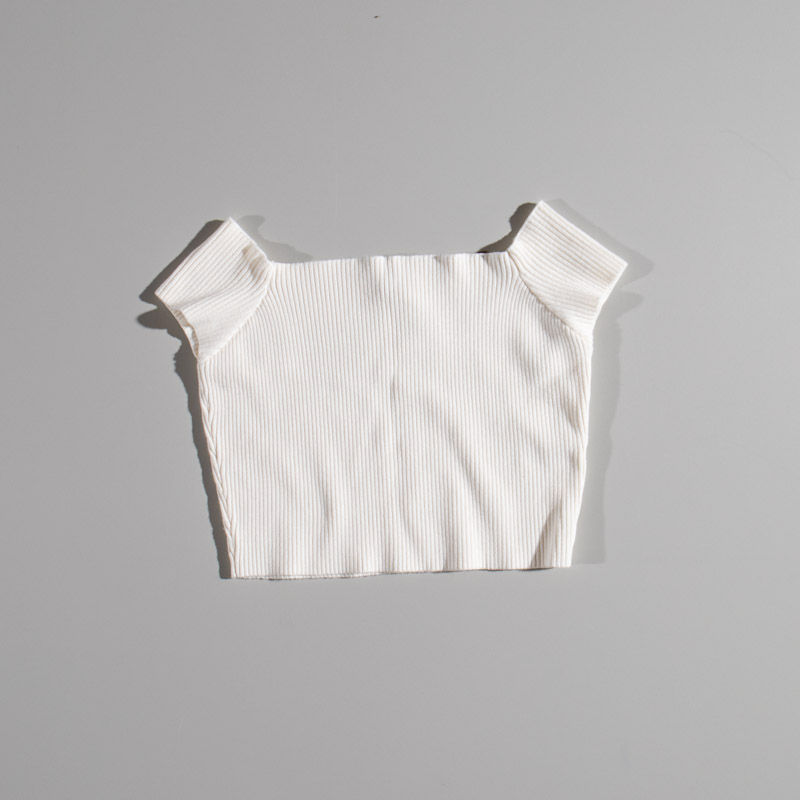 Vagabond Off The Shoulder Ribbed Crop Top