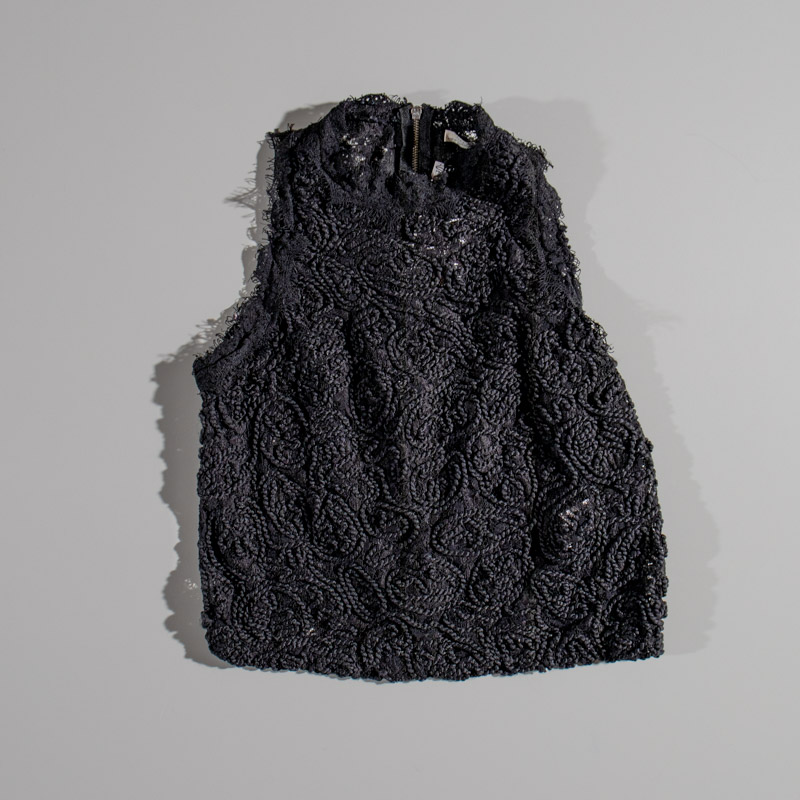 Zara Trafaluc Lace Racer Black Blouse Zip Up Back