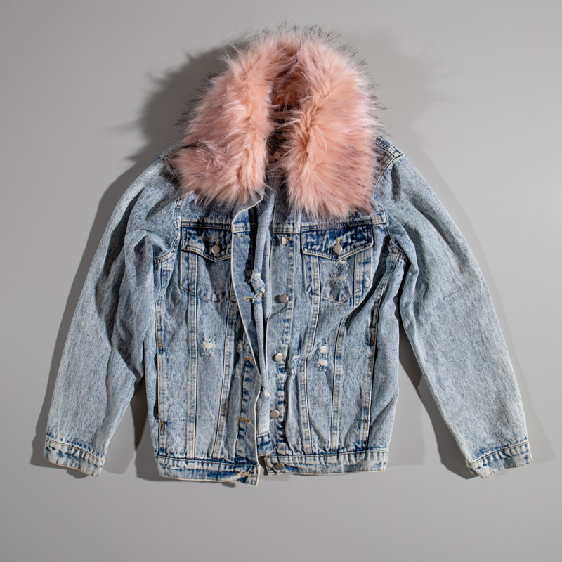 Honey Punch Denim Jacket With Fur Collar