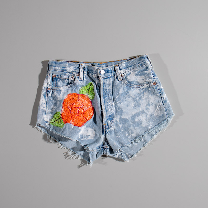 Levis Denim Shorts Flower Patch